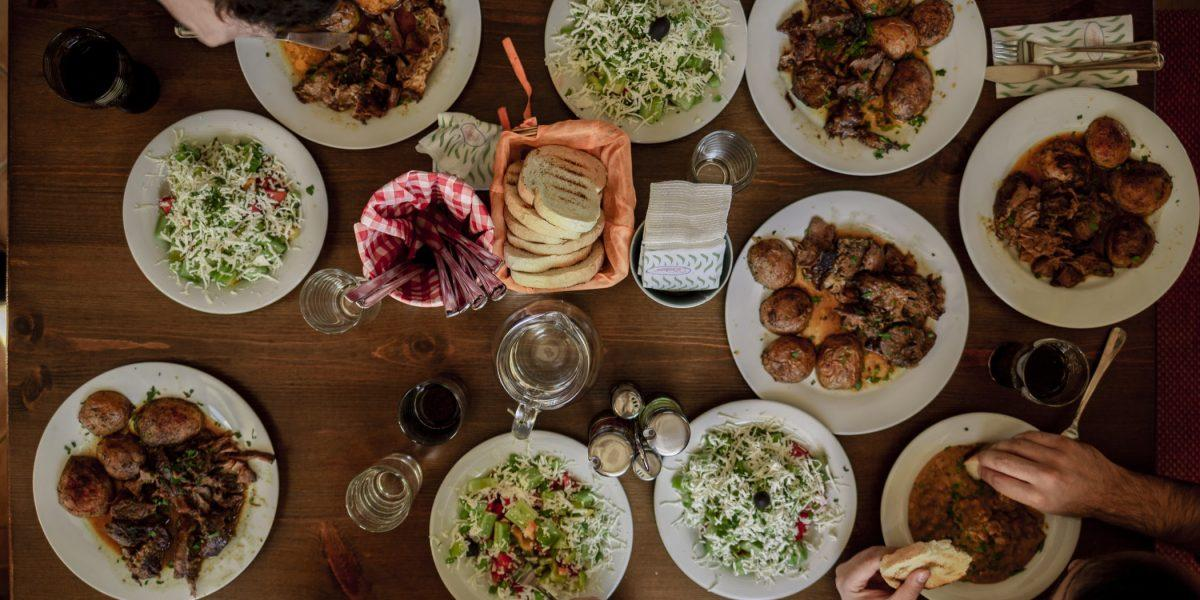 birds eye view of table with plates of food