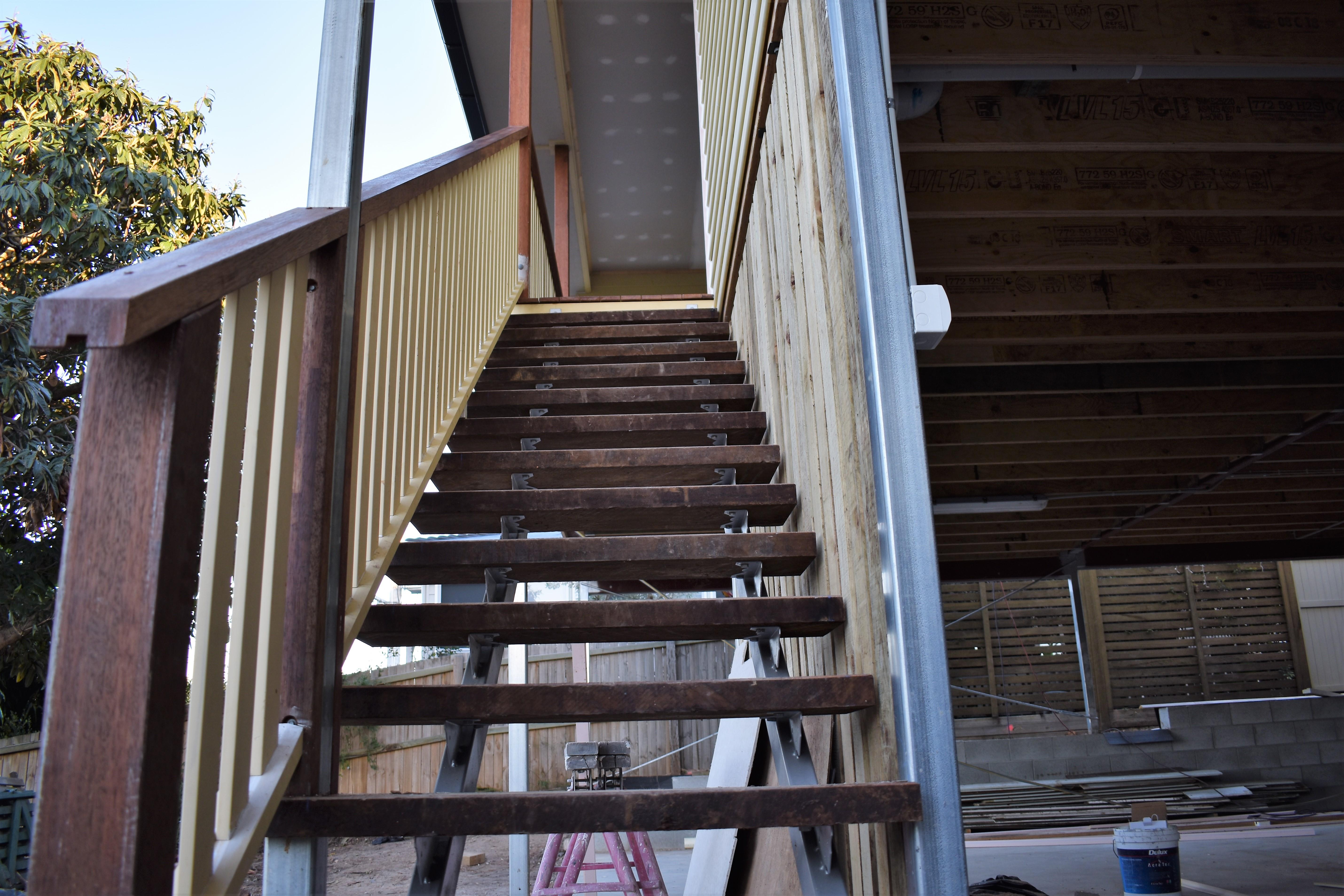 bishop construction stairs up to deck